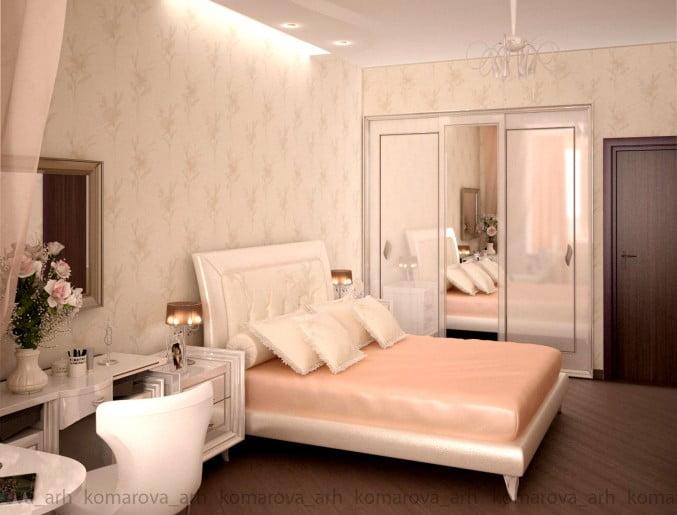 Интерьер розовая спальня