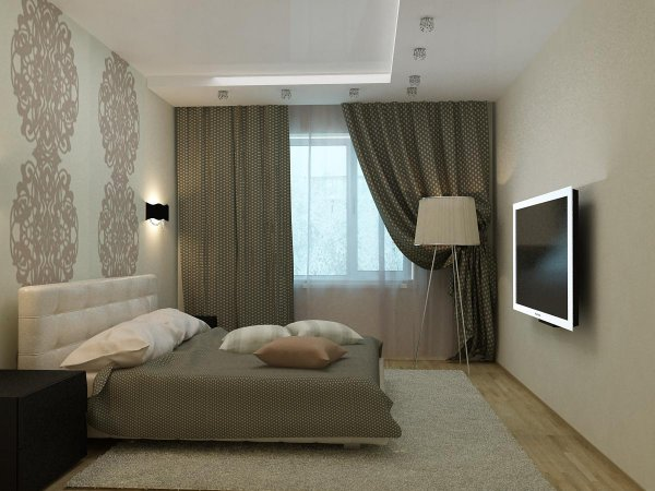 спальня с серыми оттенками