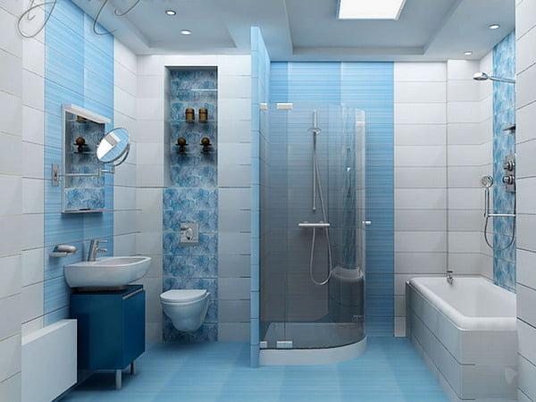 Плитка для ванной комнаты дизайн голубого с белым 174