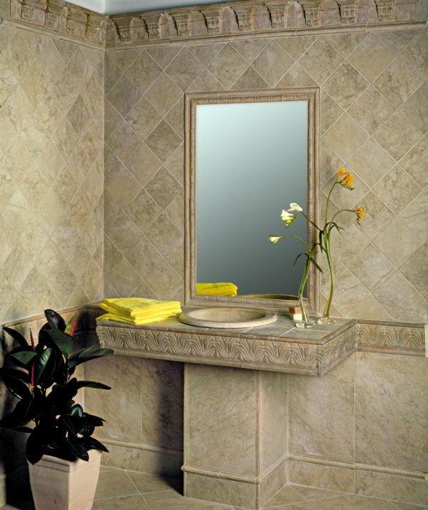Дизайн кафельной плитки в ванной: Столешница из плитки в ванной, кафельной, мозаики