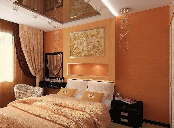 Спальня в оранжевом цвете фото