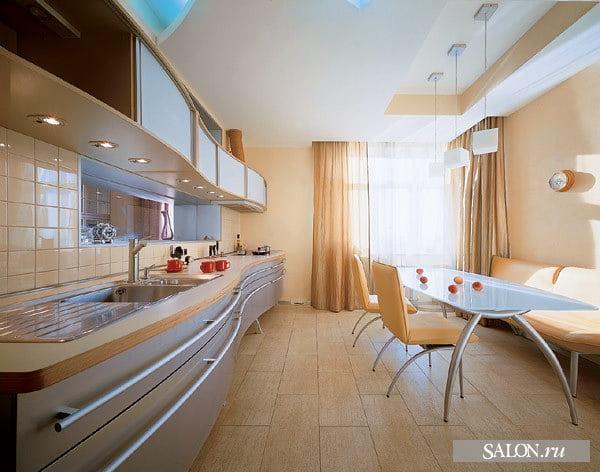Дизайн кухни 16 кв м прямоугольная