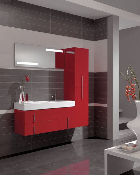 - Salle de bain rouge et grise ...
