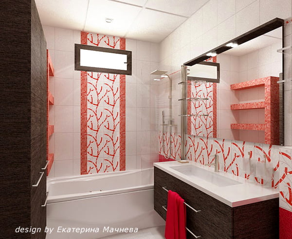 ванная комната, бело красная, дизайн