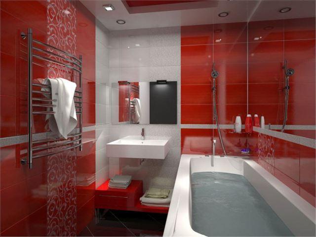 Красно белая ванная комната, бело красная, дизайн интерьера, видео ...