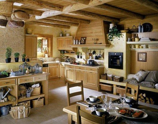 деревенская кухня с балками