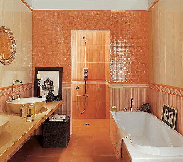 фото ванна оранжевая