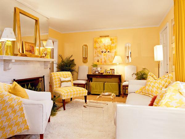 Фото дизайна гостиной в желтых тонах фото