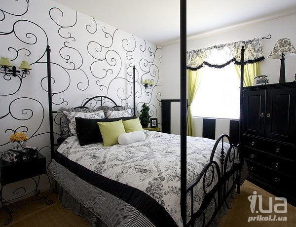 Дизайн спальня в черно белых тонах фото