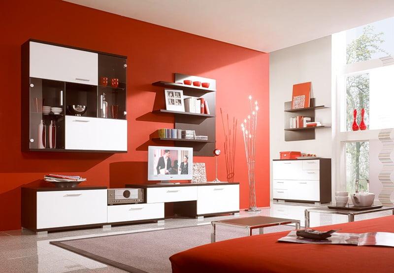 Красная гостиная, фото, дизайн интерьера, в красном цвете. в ...