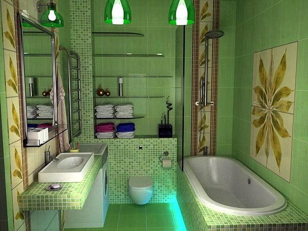 зеленая кафельная плитка в ванной