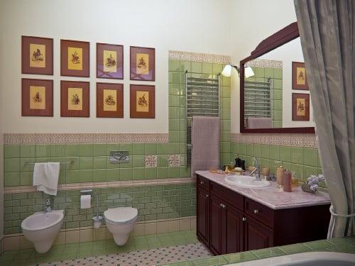 оливковый цвет в ванной комнате