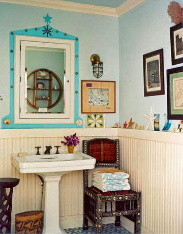 бирюзовые детали в ванной