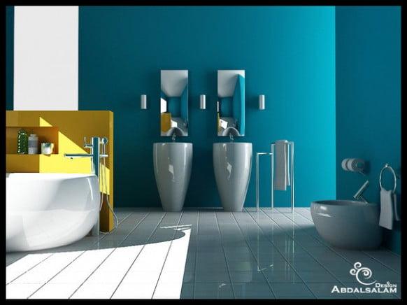 бирюзовая ванная в современном стиле