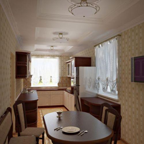 Дизайн узкой кухни гостиной 143