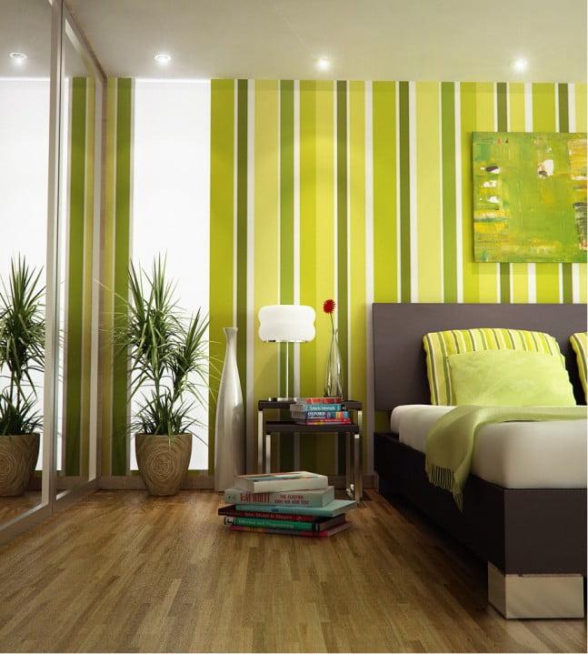 Зеленые обои в спальне фото