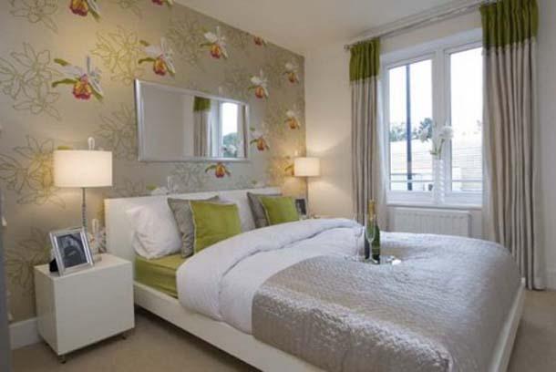 Дизайн спальни с мебелью цвета венге