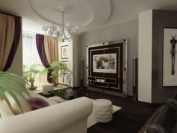 Дизайн обоев в гостиную с камином
