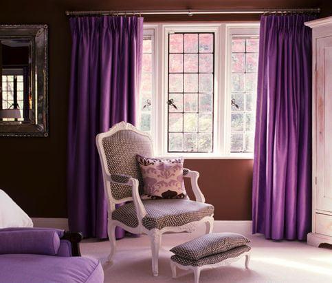 Шторы фиолетового цвета для спальни