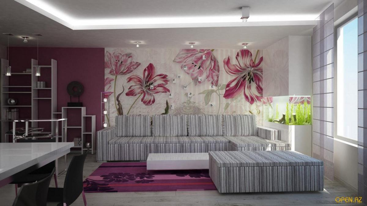 крупные цветы на стене