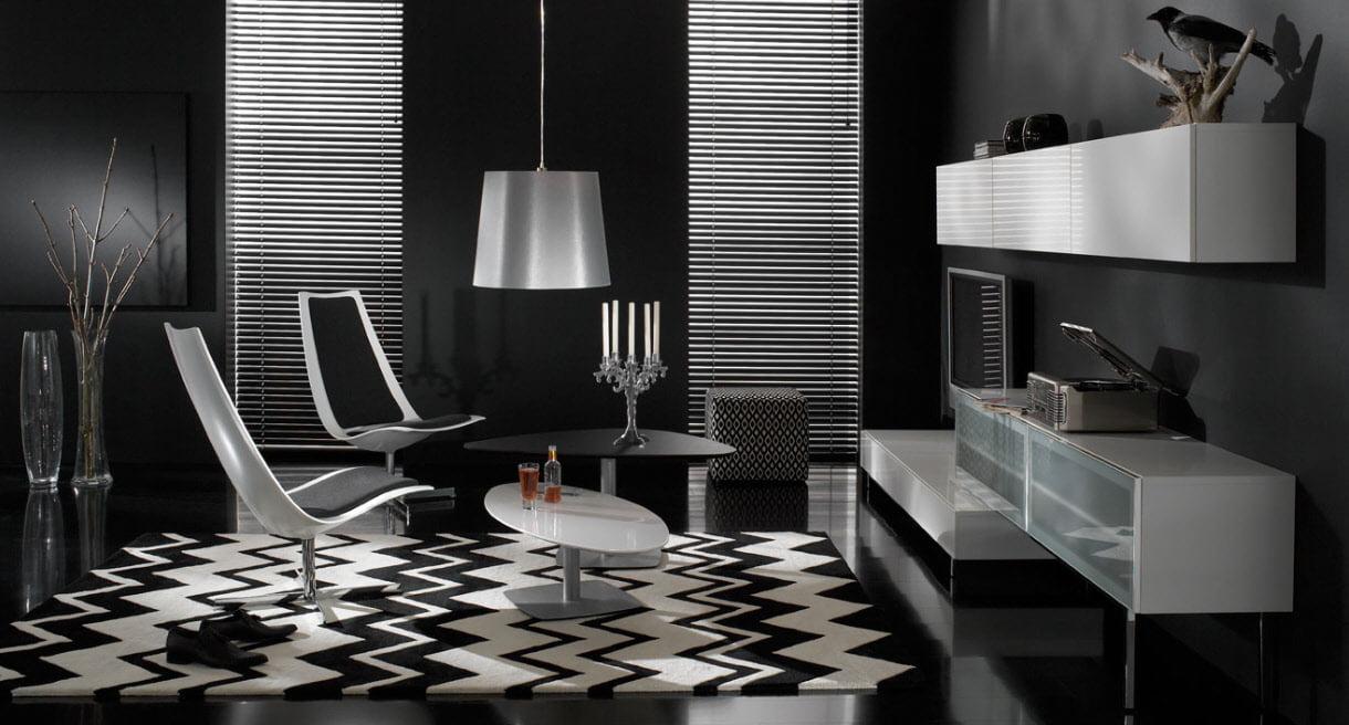 Дизайн интерьера черные обои