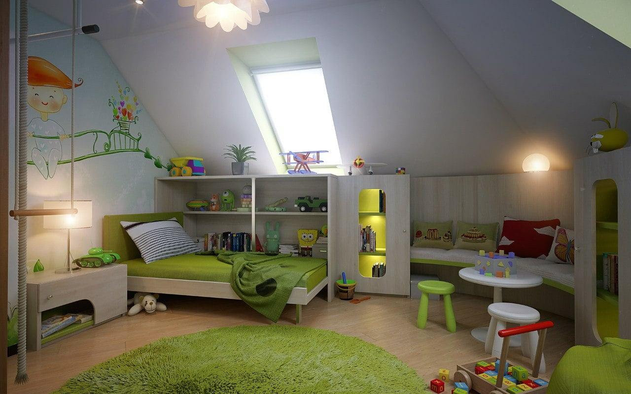 Комнаты на мансардном этаже фото