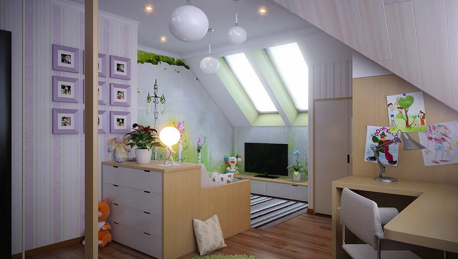 Дизайн скошенных потолков фото
