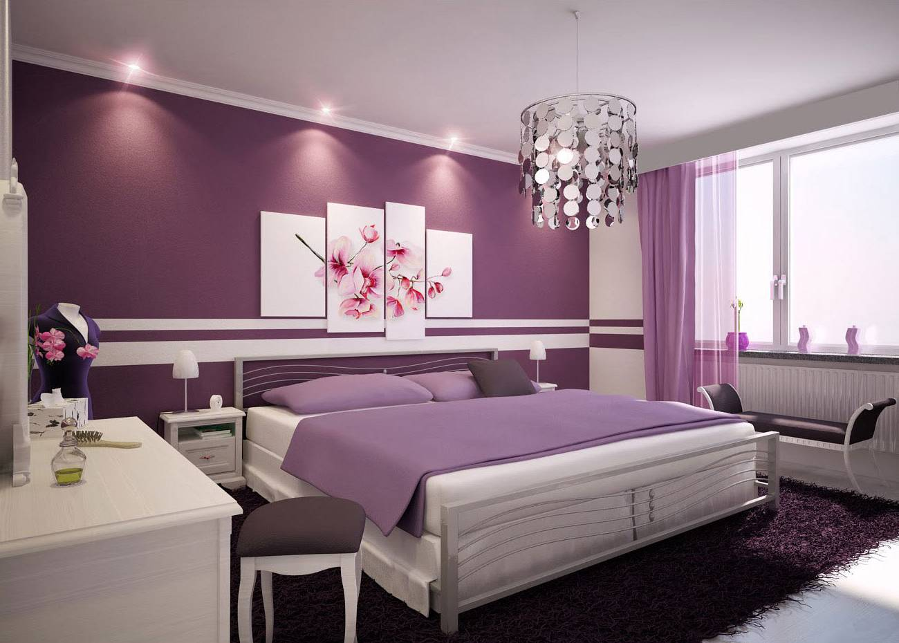 дизайн комнат в фиолетовом цвете